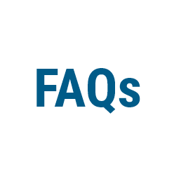 FAQs in Blauer Schrift auf hellem Kreis